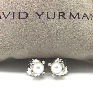 David Yurman pearl earrings, 6mm